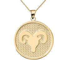 Solid 10k Yellow Gold Aries Zodiac Disc Pendant Necklace