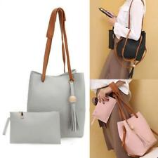 2Pcs Women Handbag PU Leather Shoulder Messenger Bag Tote Purse Clutch Bag WT