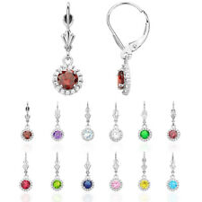 14K White Gold Created Diamond Halo Round Birthstone Dangle Leverback Earrings