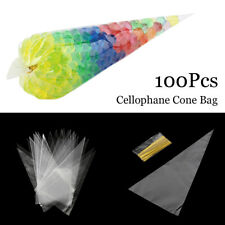 NEW Large Clear Cellophane Cone Bags Kids Party Plastic Cello Sweet Candy  Bag