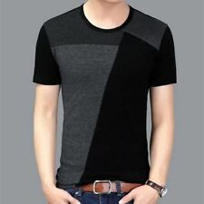 New Arrival Solid Color Short Sleeve Slim Fit Round Neck T Shirt For Men