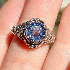 Aquamarine Women Vtg Jewelry 925 Silvering Wedding Engagement Ring Fashion