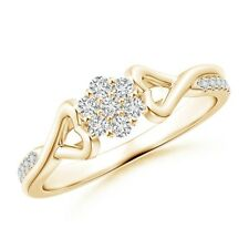 Twisted Heart 2 Heart Diamond Cluster Engagement Ring 14k Gold/Platinum