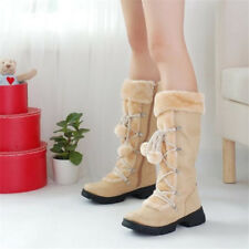 Women Round Toe Mid Calf Snow Boots Warm Plush Flats Suede Fur Lined Ankle Shoes