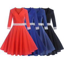 NEW 50s Vintage Style Dress Women Pinup Swing Party Rockabilly Casual Work Dress