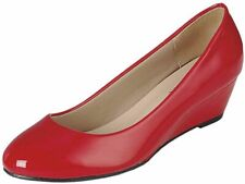 Forever Link Womens Round Toe Slide Slip On Patent Leather Low Wedge Kitten...