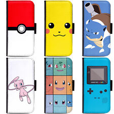 PIN-1 Game Pokemon A Phone Wallet Flip Case Cover for Samsung