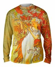"Yizzam- Alphonse Mucha - ""Spring"" (1896) - New Mens Long Sleeve Tee Shirt XS S"