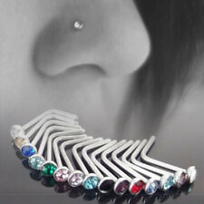 10pcs Surgical Crystal Nose Rings Bone Stud Stainless Steel Body Screw Piercing
