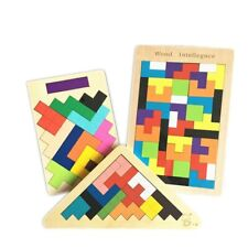 Kids Wooden Toys Adult Triangle Blocks Egg Jigsaw Puzzle Clever Board Game Set