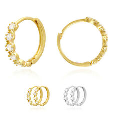 14k Gold Created Diamond Hinged Huggie Hoop Earrings Yellow & White 0.50Ct