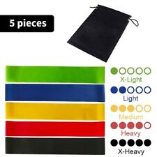 Resistance Bands Set of 5 Exercise Workout Fitness Yoga CrossFit Booty Band