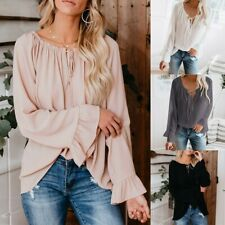 Womens Off Shoulder Tops Long Bell Sleeve Shirts Flared Casual Loose Blouses NA