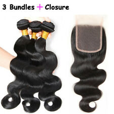 US Top 100% Unprocessed Virgin Human Hair 3 Bundles with Closure Straight Wavy
