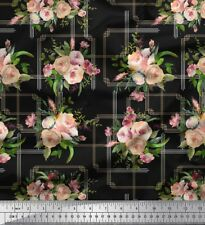 Soimoi Fabric Leaves & Rose Floral Printed Craft Fabric by the Yard - FL-1115A