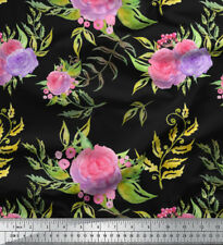 Soimoi Fabric Leaves & Rose Floral Printed Craft Fabric by the Yard - FL-627A