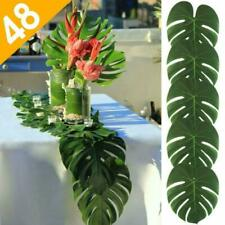 Aerwo 48Pcs Large Artificial Tropical Palm Leaves, 13.8 By 11.4Inch, Hawaiian Lu