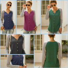 Top Loose Casual Striped V Neck Long Sleeve Womens T-Shirt Shirt Blouse Pullover