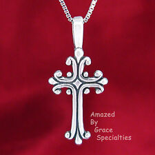 Sterling Silver 925 Tweens' FANCY Cross Pendant or Necklace - CHOICE of Chain!