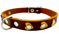 """High Quality Leather Dog Collar, Heart Studs. 11""""x1/2"""" Wide. Fits 8""""-10"""" Neck"""