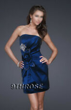 FLAUNT UR STYLE! STRAPLESS BLUE SHORT COCKTAIL PARTY DRESS WITH FLOWER & BROOCH