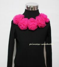 Long Sleeve Black Pettitop Top with Hot Pink Rose 1-8Y