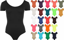 New Womens Short Sleeve Scoop Neck Ladies Stretch Bodysuit Leotard Top 8-14