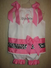 Personalized White Hot Pink Zebra Outfit Monogram Cute!