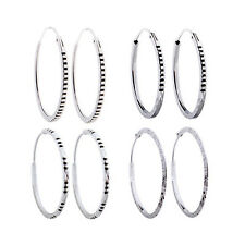 .925 Sterling Silver Diamond-Cut Hoop Earrings ~ 30mm