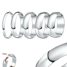 New 18ct White Gold Heavy D Shaped Wedding Ring Band