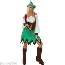 NEW LADIES WOMENS SEXY ROBIN HOOD MAID MARION FANCY DRESS COSTUME OUTFIT AND HAT