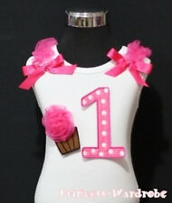 Hot Pink Polka Dot 1st Birthday Cake Bow Baby White Top