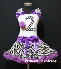 Baby Purple Zebra Pettiskirt 2nd Birthday Cupcake Set