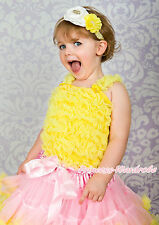 Yellow Ruffles Pettitop match pettiskirt Tank Top 1-8Y