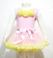 Baby Pink Top Yellow Rosettes with Pettiskirt Set 3-12M