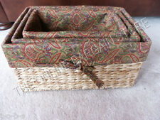 1 Jute Seagrass Wicker Toy Laundry Basket Rectangle Small Medium Large Lined