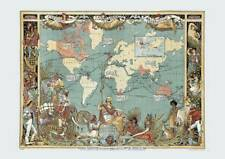 Colour Victorian British Empire Britannia Old Map 1886