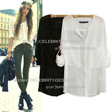 ts14 Celebrity Fashion Light Chiffon White Oversized Boyfriend Shirt w Pocket