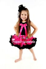 Zebra Waist Hot Pink Pettiskirt with Black Pettitop Top in Hot Pink Bow Set 1-8Y