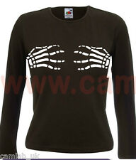 HALLOWEEN SKELETON HANDS LADIES FIT T-SHIRT LONG SLEEVE GILDAN
