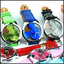 SH US Womens Wrist Watches Children Quartz Round Face Micky Mouse Leather Watche