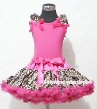 Hot Pink Leopard Pettiskirt with Hot Pink Pettitop Ruffles Hot Pink Bow Set 1-8Y