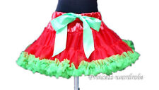 XMAS Christmas Red Green FULL Pettiskirt Skirt Petti Dance Tutu Dress Girl 1-8Y