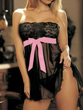 Sexy Lingerie Chemise Babydoll + G string size Black 14 16 18