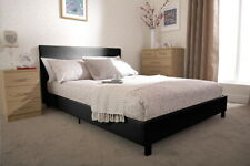 Pablo 3ft Single Faux Leather Bed Black Brown White Pink + Mattress Options