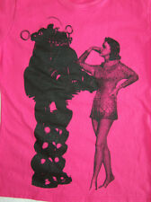 FUSCHIA PINK FORBIDDEN PLANET T SHIRT ROBBY ROBOT TOP MOD SCI FI CULT FRUIT LOOM