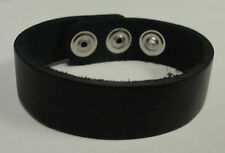 """3/4"""" Plain Genuine Leather Bracelet Made in USA by Manzoor Black White Red Pink"""