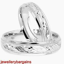 NEW SOLID SILVER WEDDING RING LADIES GENTS 4MM MATCHING SET FREE ENGRAVING