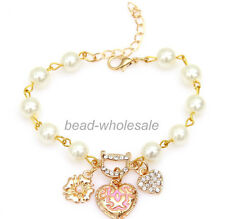Fashion fine glass pearl crystal heart flower charms bracelet