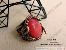 Fashion Ancient Red Corallite Crystal Retro Ring